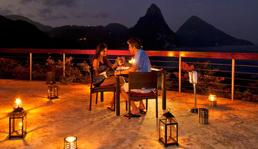 Dining at jade mountain romantic luxury st lucia resort for Dinner on the terrace